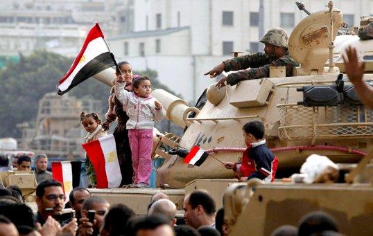 Egyptian Revolution Children on Army Tanks